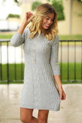 Heather Gray Knitted Sweater Dress