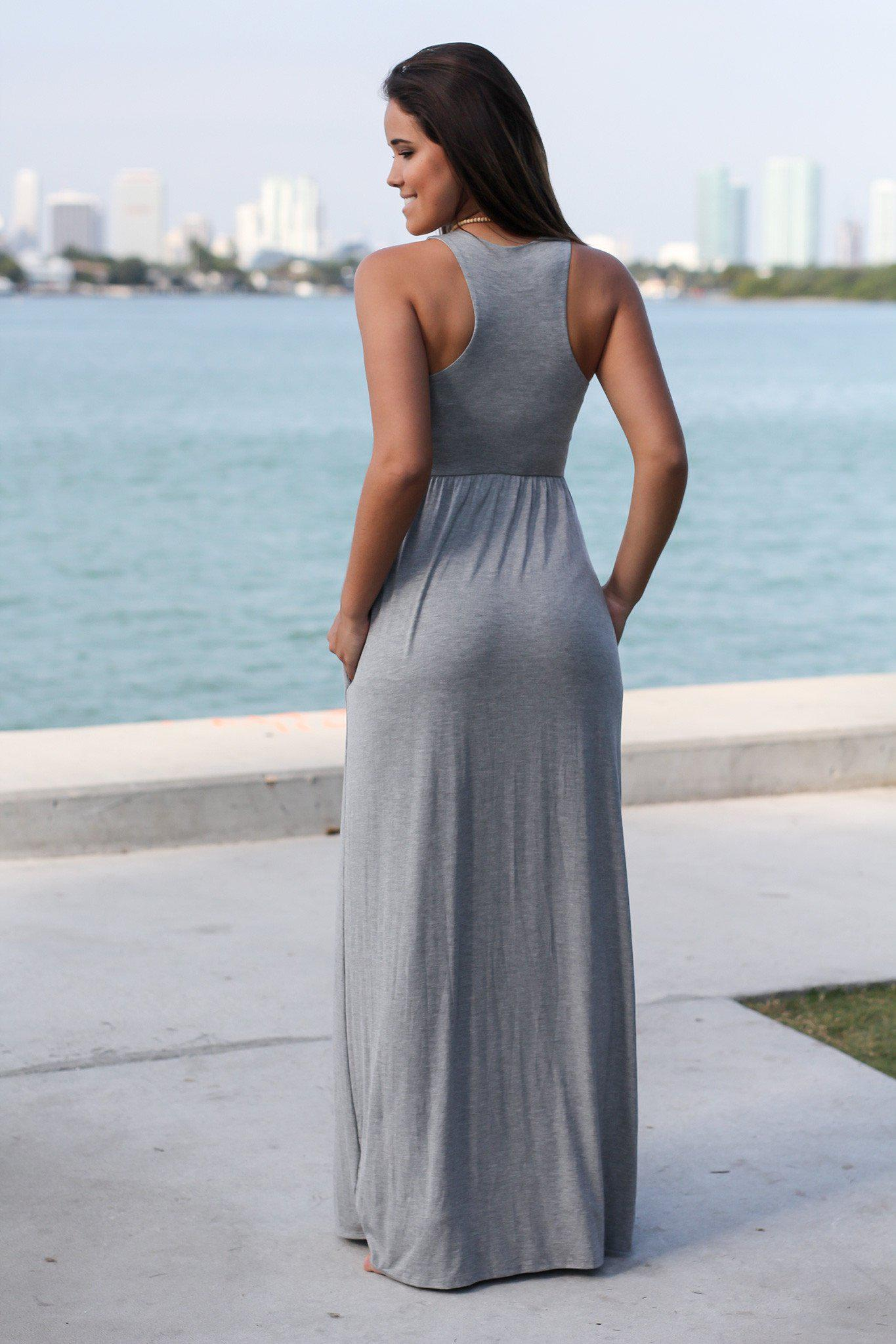 Heather Gray Maxi Dress with Pockets