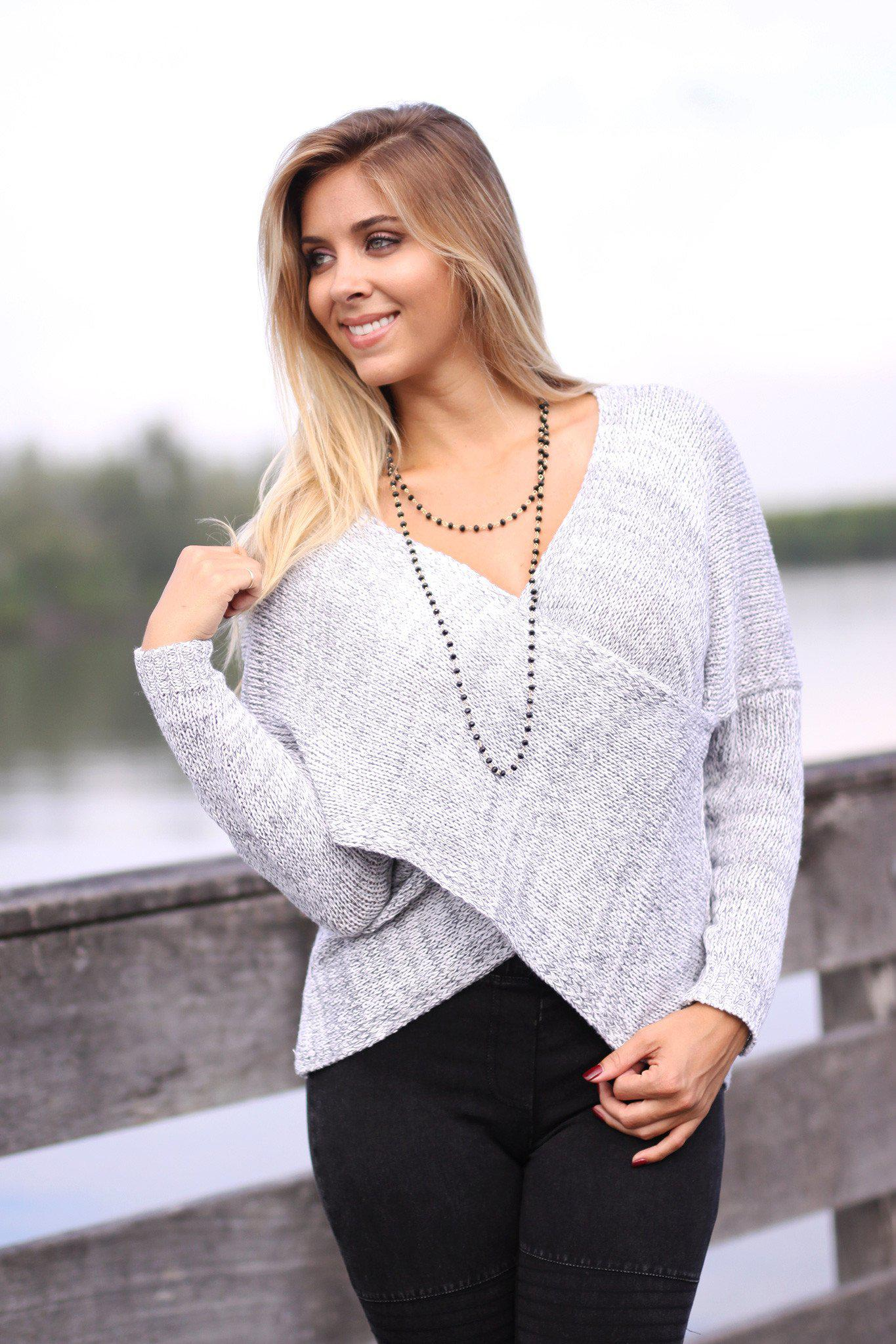 Heather Gray Overlap Sweater