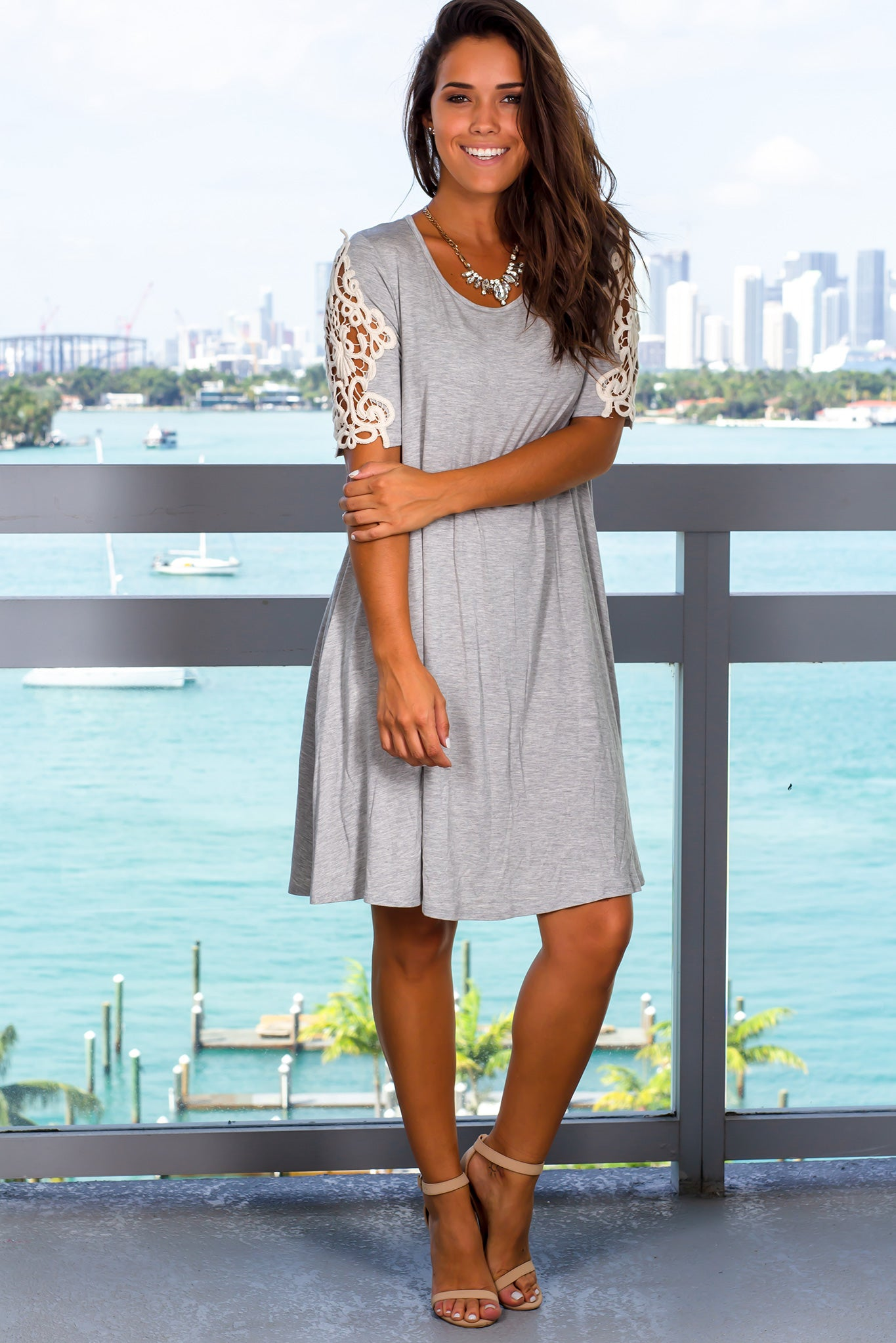 Heather Gray Short Dress with Crochet Sleeves