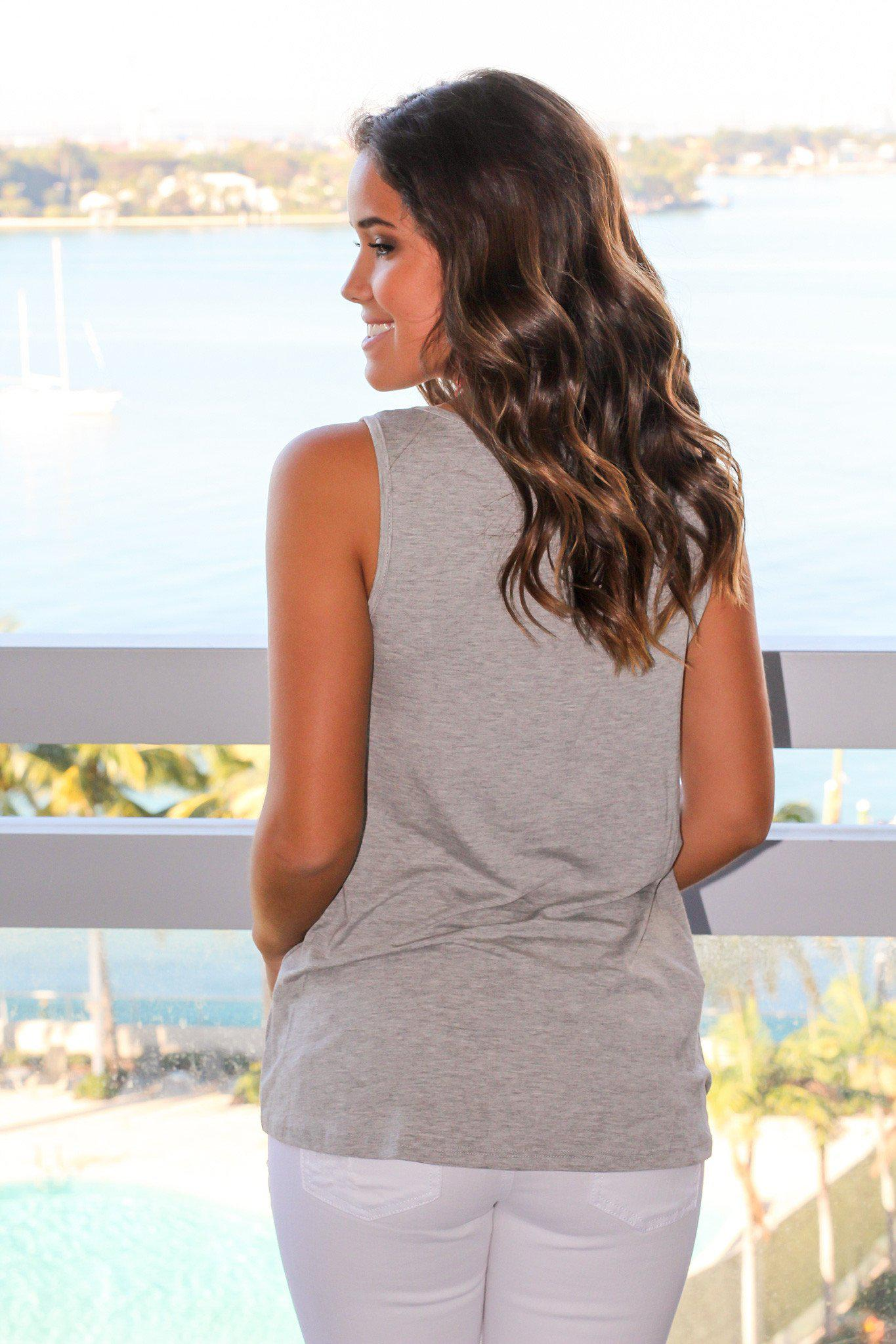 Heather Gray Tank Top with Palm Tree Pocket