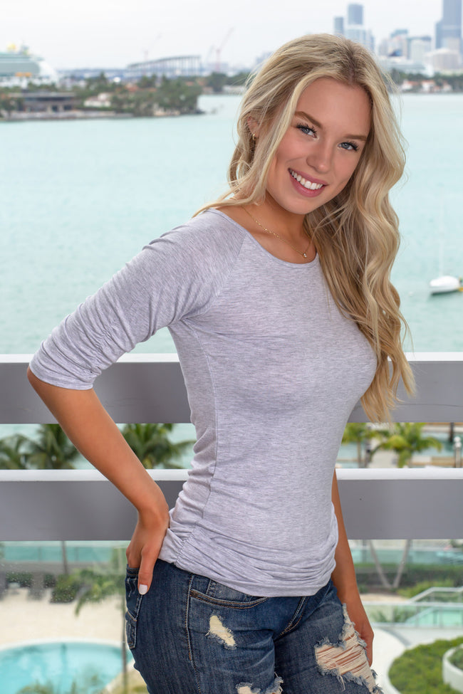 Heather Gray Top with 1/2 Sleeves