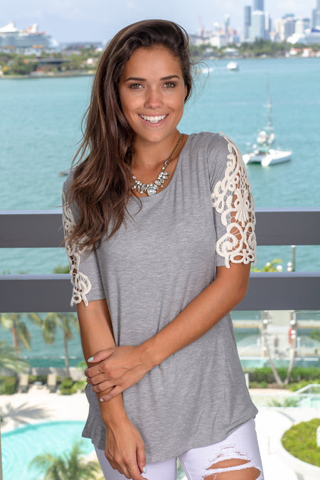 Heather Gray Top with Crochet Sleeves