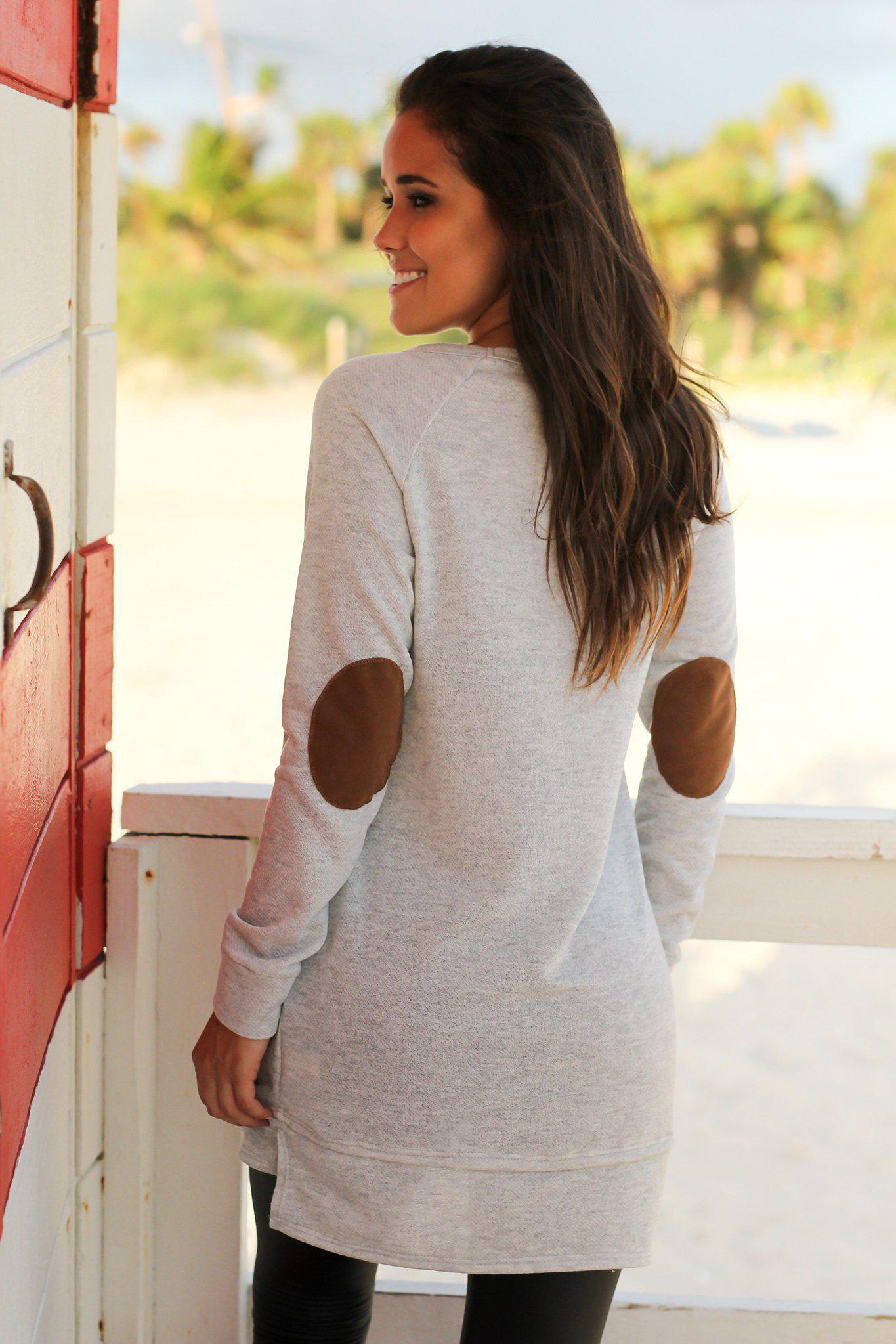 Heather Gray Tunic with Elbow Patches
