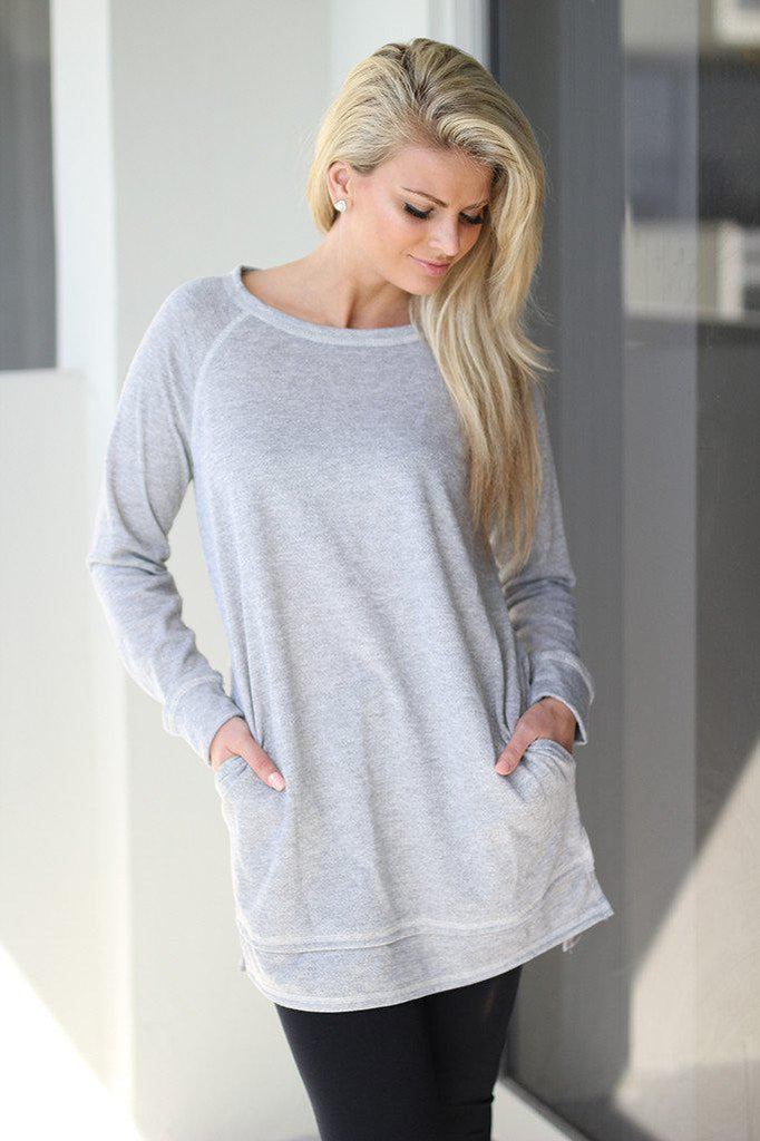 heather gray tunic with pockets
