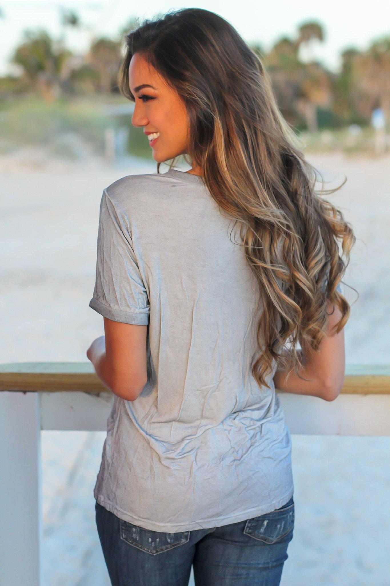 Heather Gray V-Neck Top with Frayed Pocket
