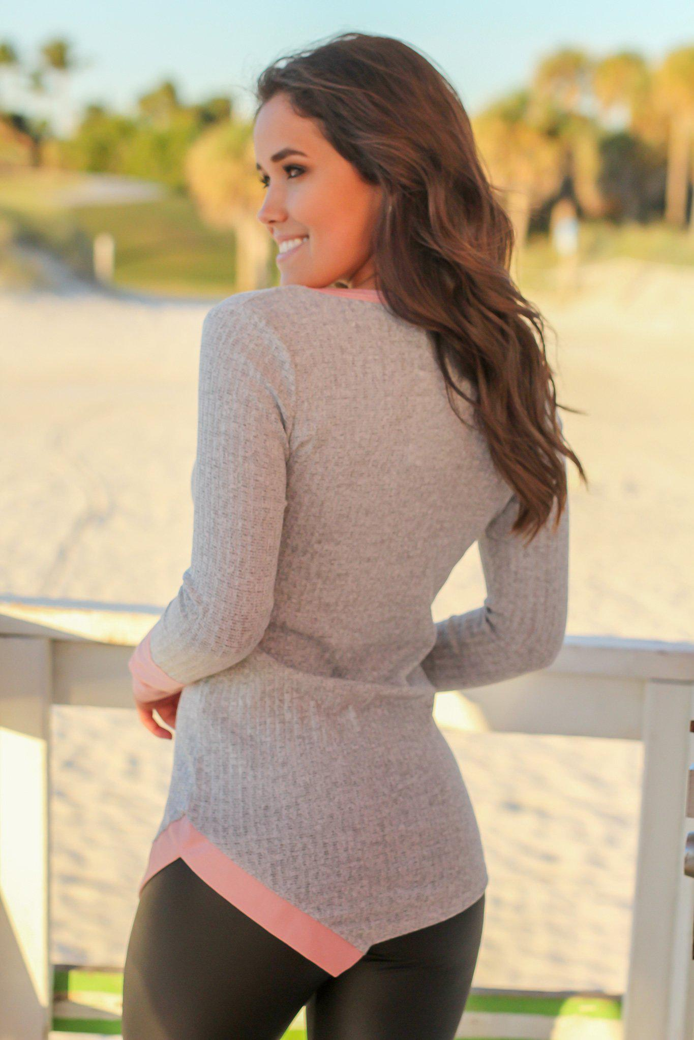 Heather Gray and Mauve Long Sleeve Top
