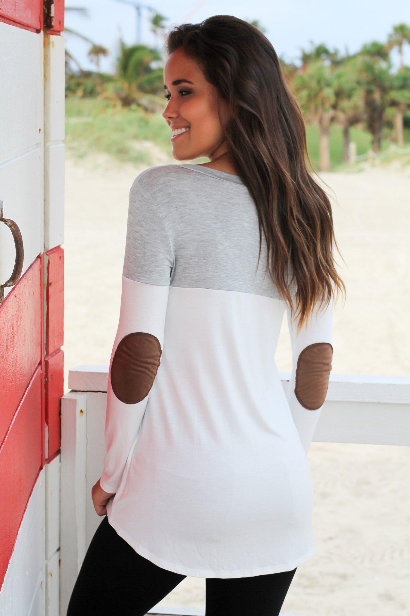 Heather Gray and White Top with Elbow Patches