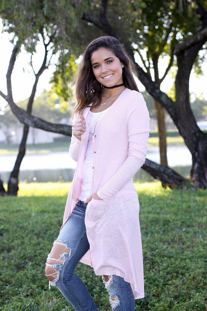 blush open front cardigan