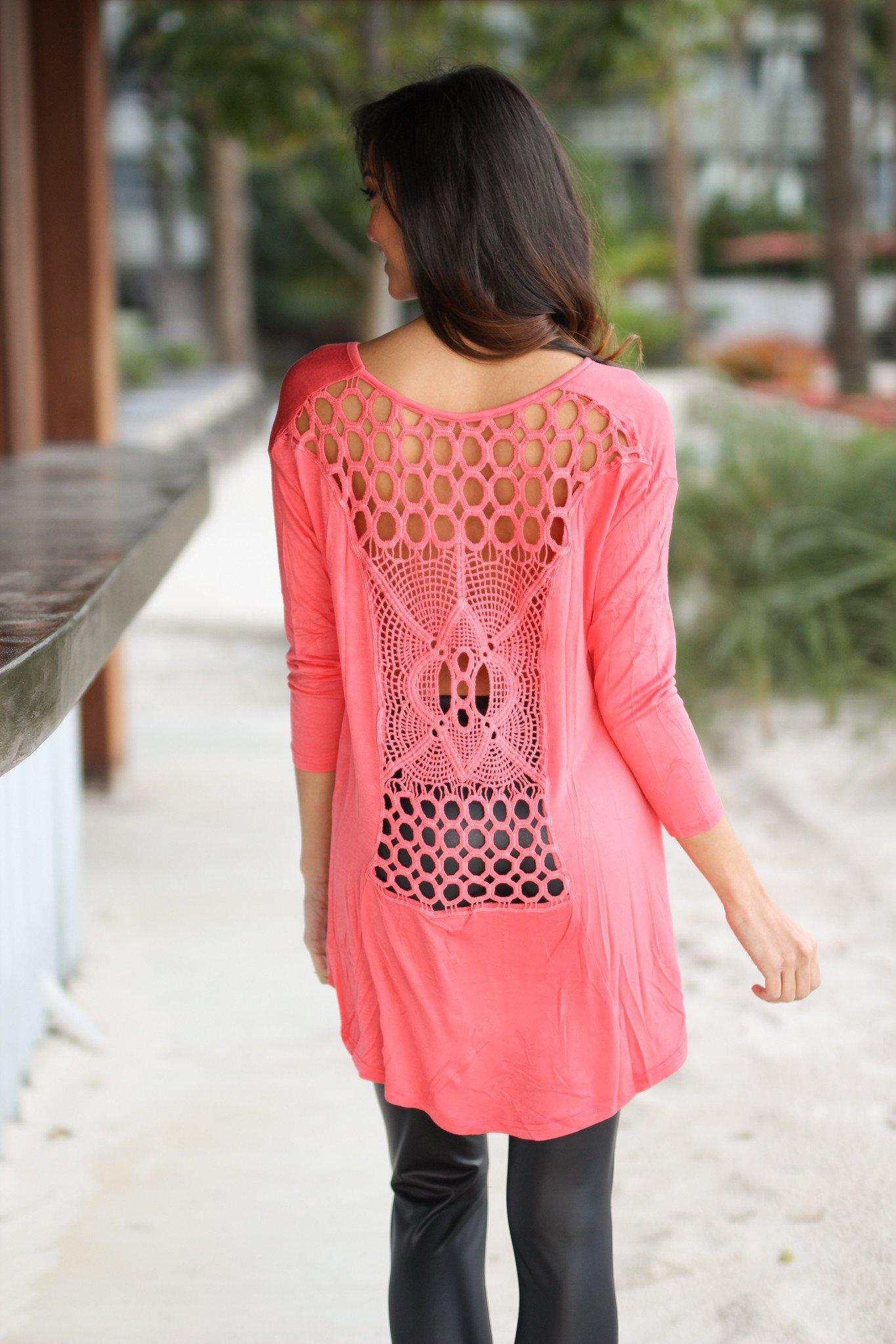 Coral High-Low Top with Crochet Back