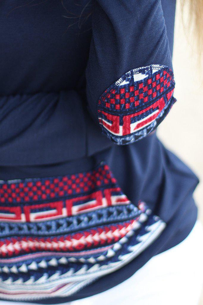 navy front pocket hoodie with aztec print