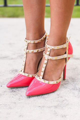 Hot Coral Studded Strappy Heels