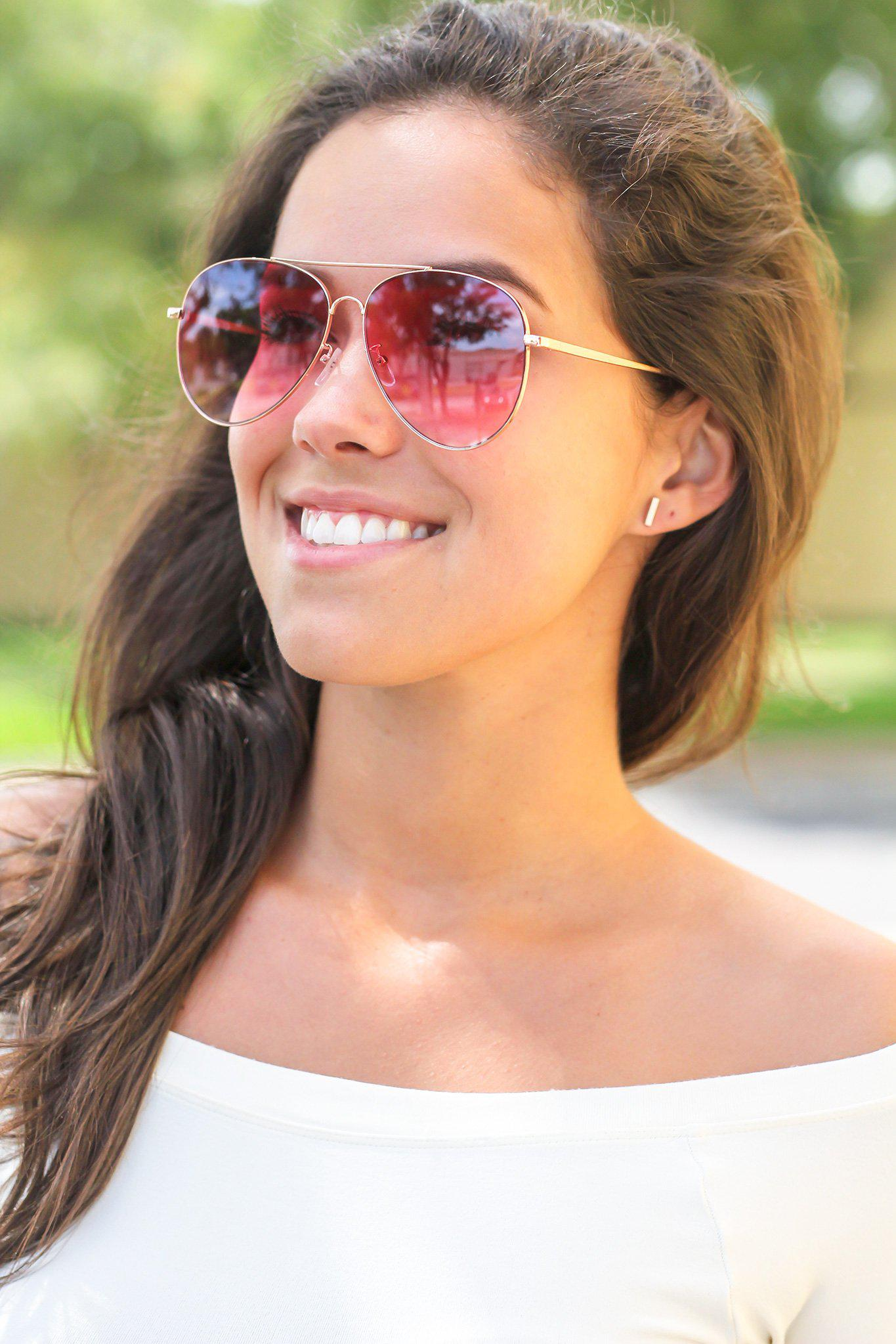 Hot Pink Aviators with Gold Frame
