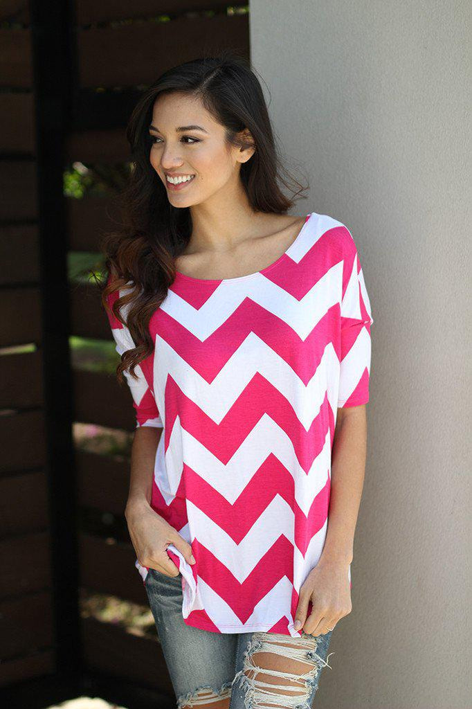 hot pink 3/4 sleeve top