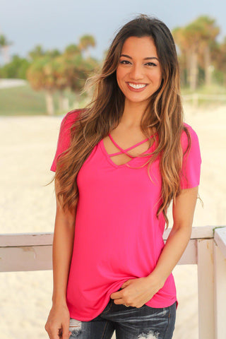 Hot Pink Criss Cross Top with Short Sleeves