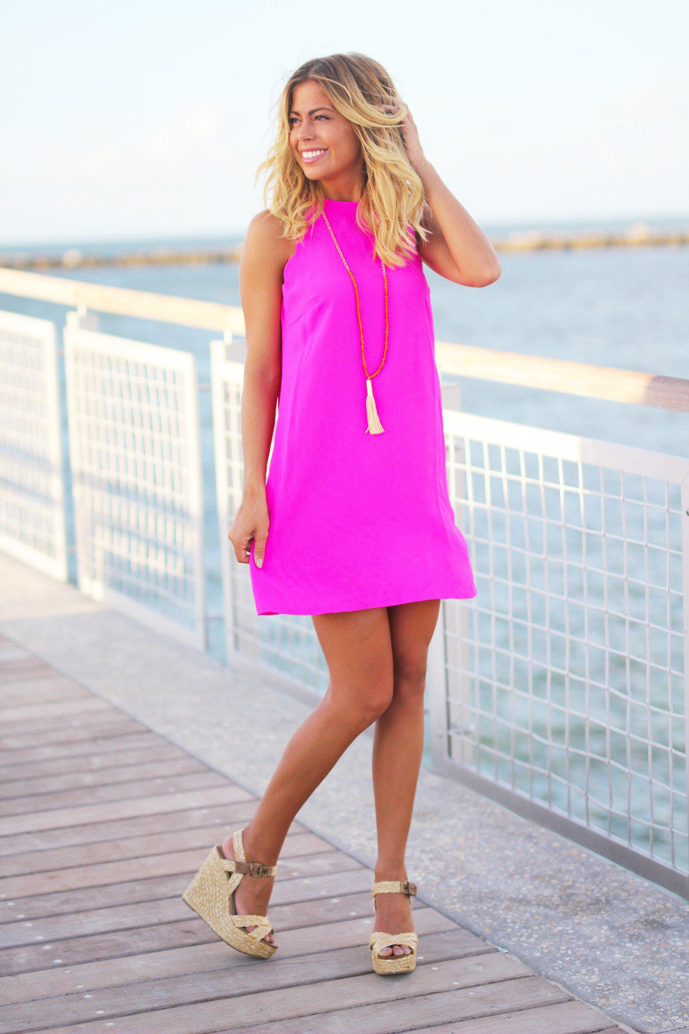 Hot Pink Scalloped Short Dress