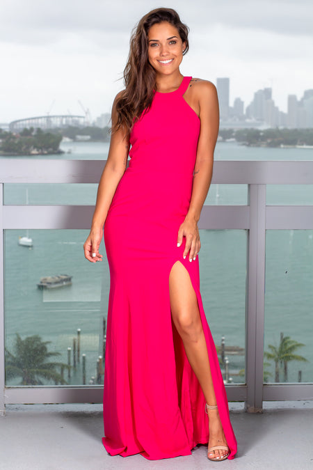 Hot Pink Halter Neck Maxi Dress with Lace Detail