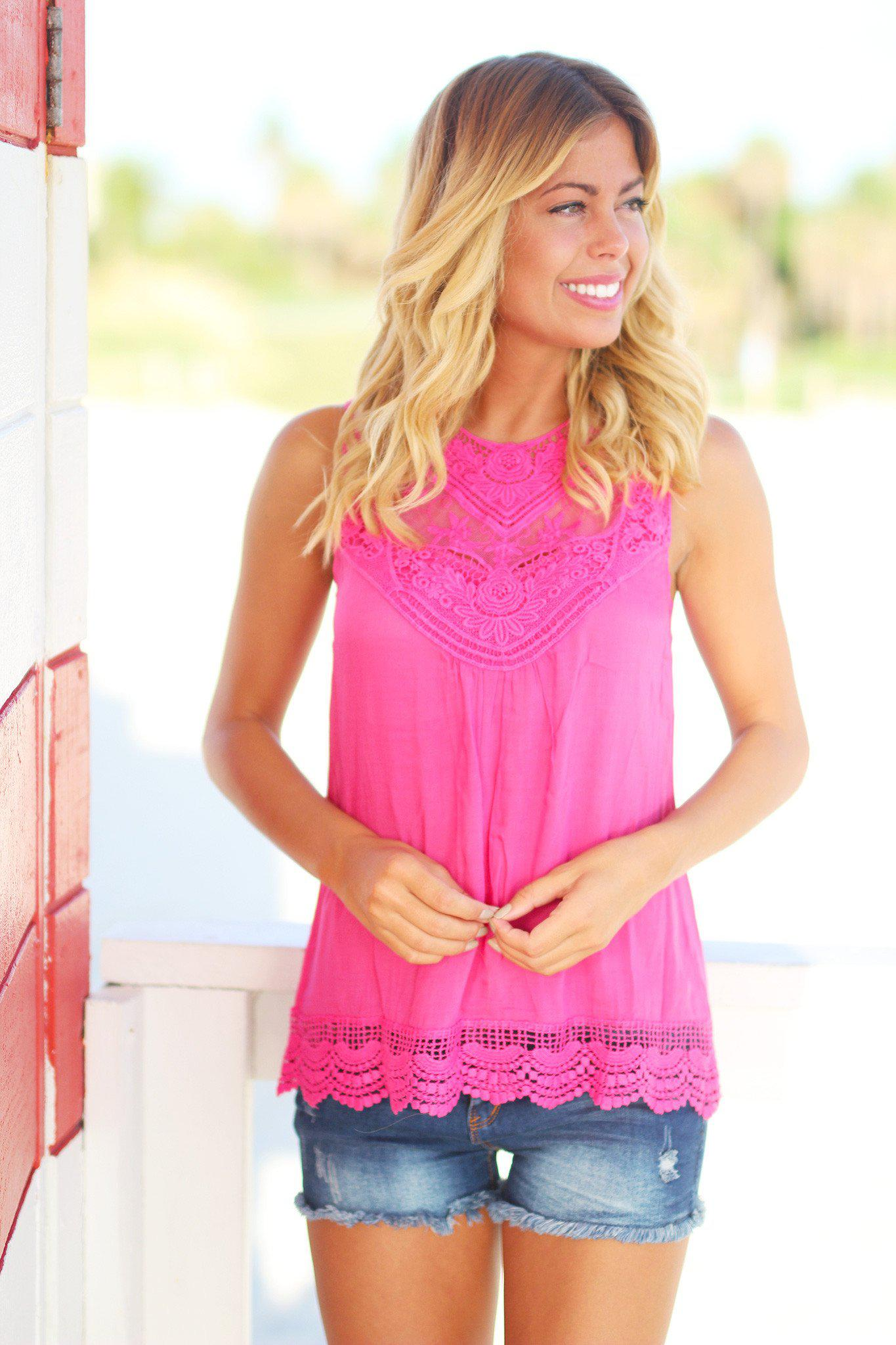 Fuchsia Lace Top