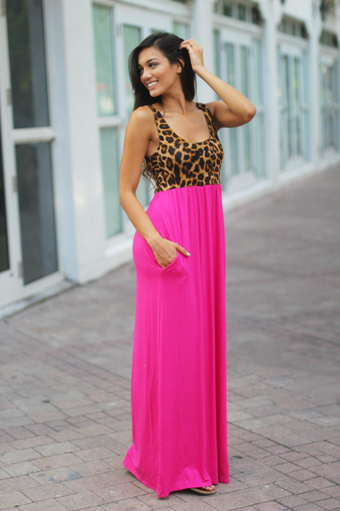Pink Leopard Maxi Dress With Pockets Pink Maxi Dress Saved By