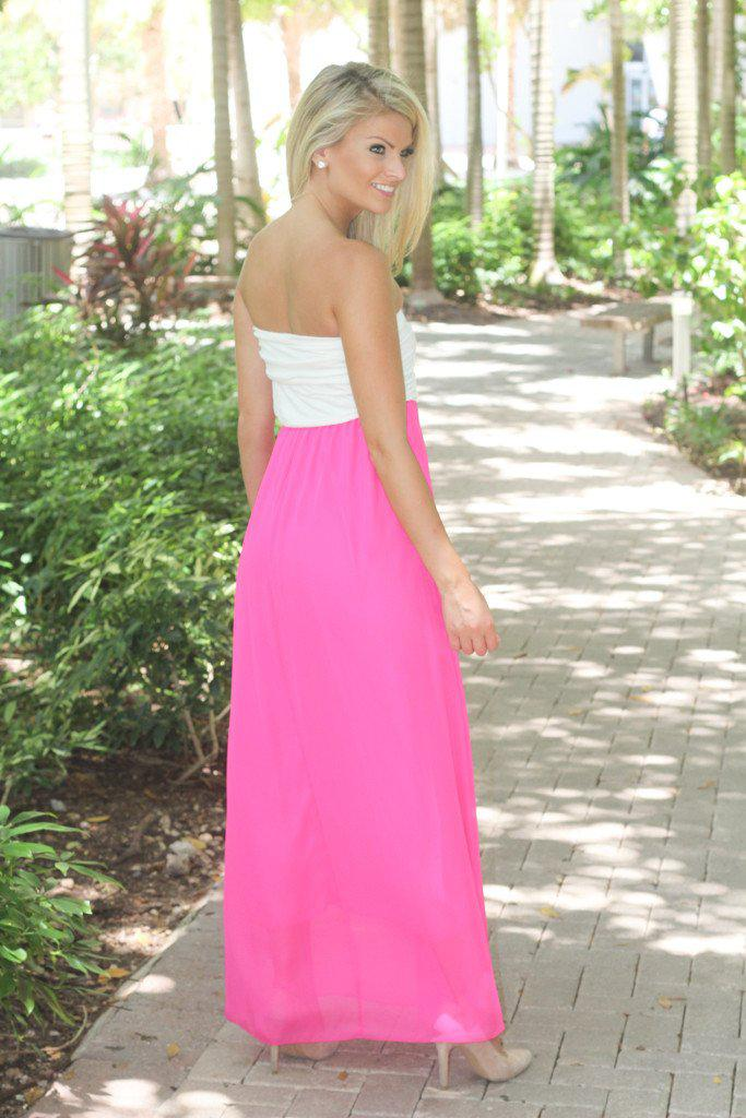 White And Hot Pink Strapless Maxi Dress