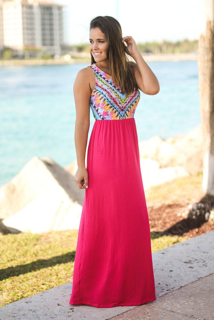 Hot Pink Maxi Dress with Printed Top
