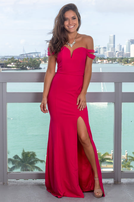 Hot Pink Off Shoulder Maxi Dress with Side Slit