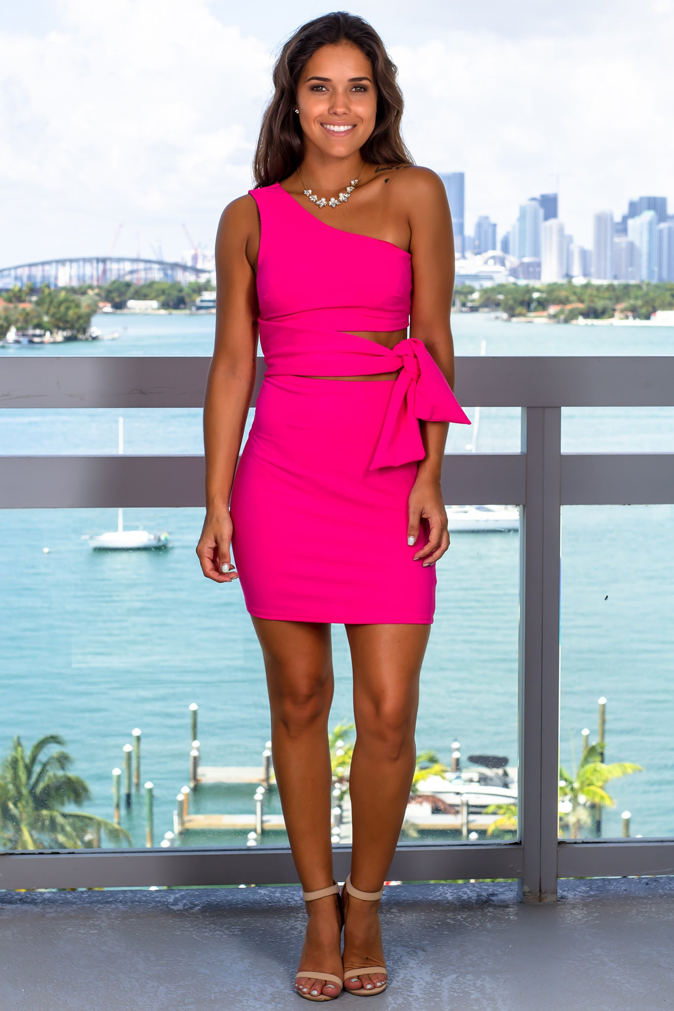 c68e2f93ad Hot Pink One Shoulder Short Dress with Tie Waist | Short Dresses – Saved by  the Dress