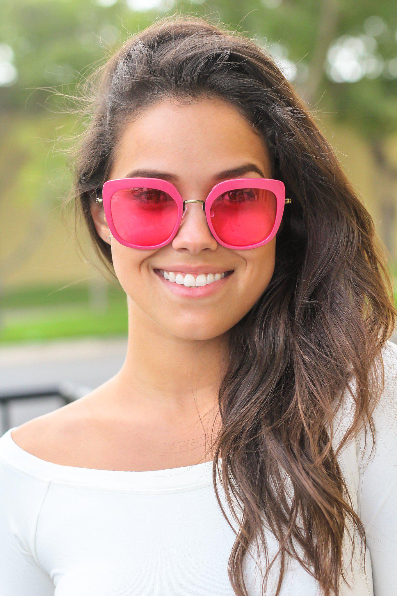 Hot Pink Retro Frame Sunglasses