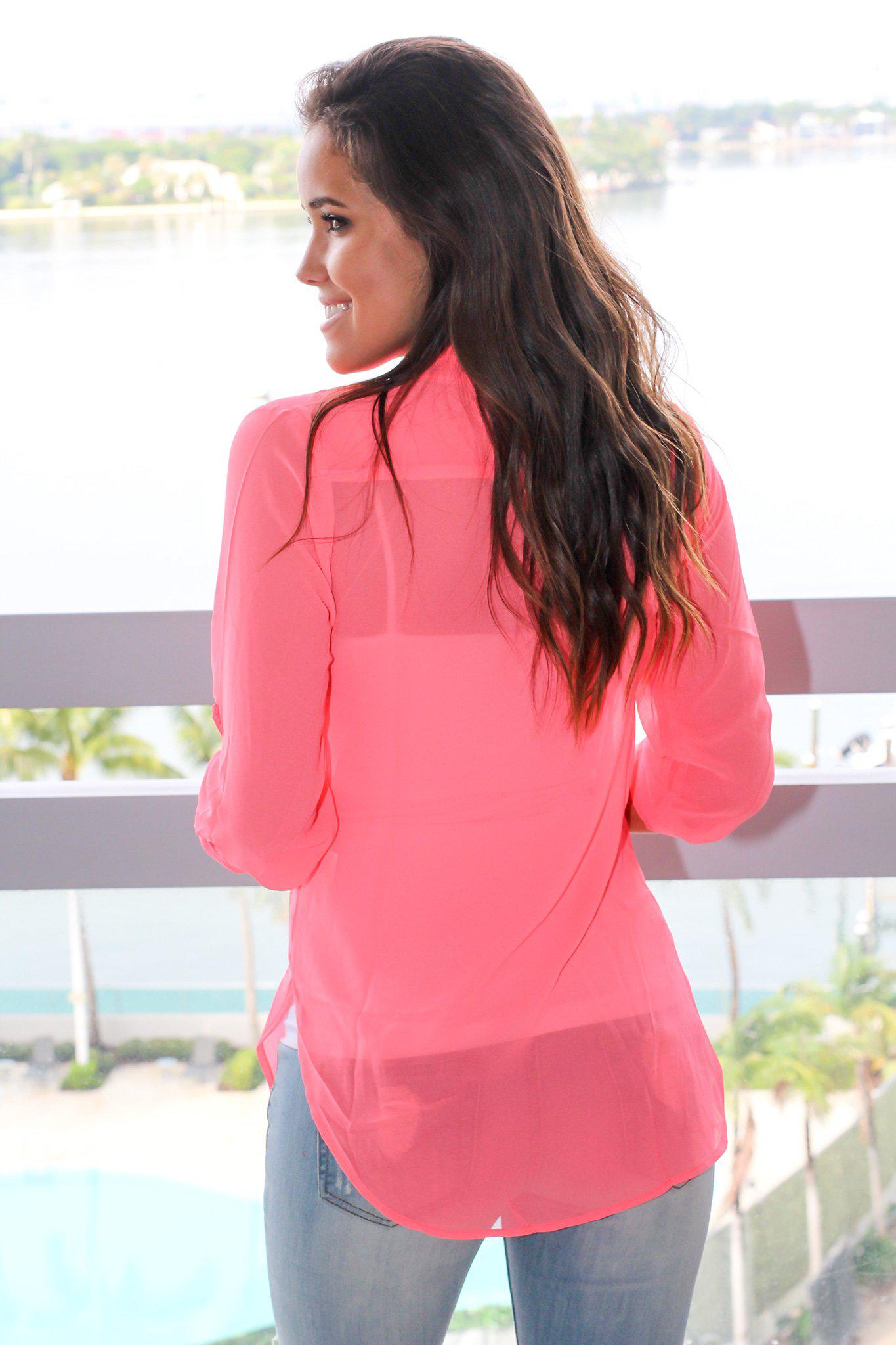 Hot Pink Sheer Top with 3/4 Sleeves