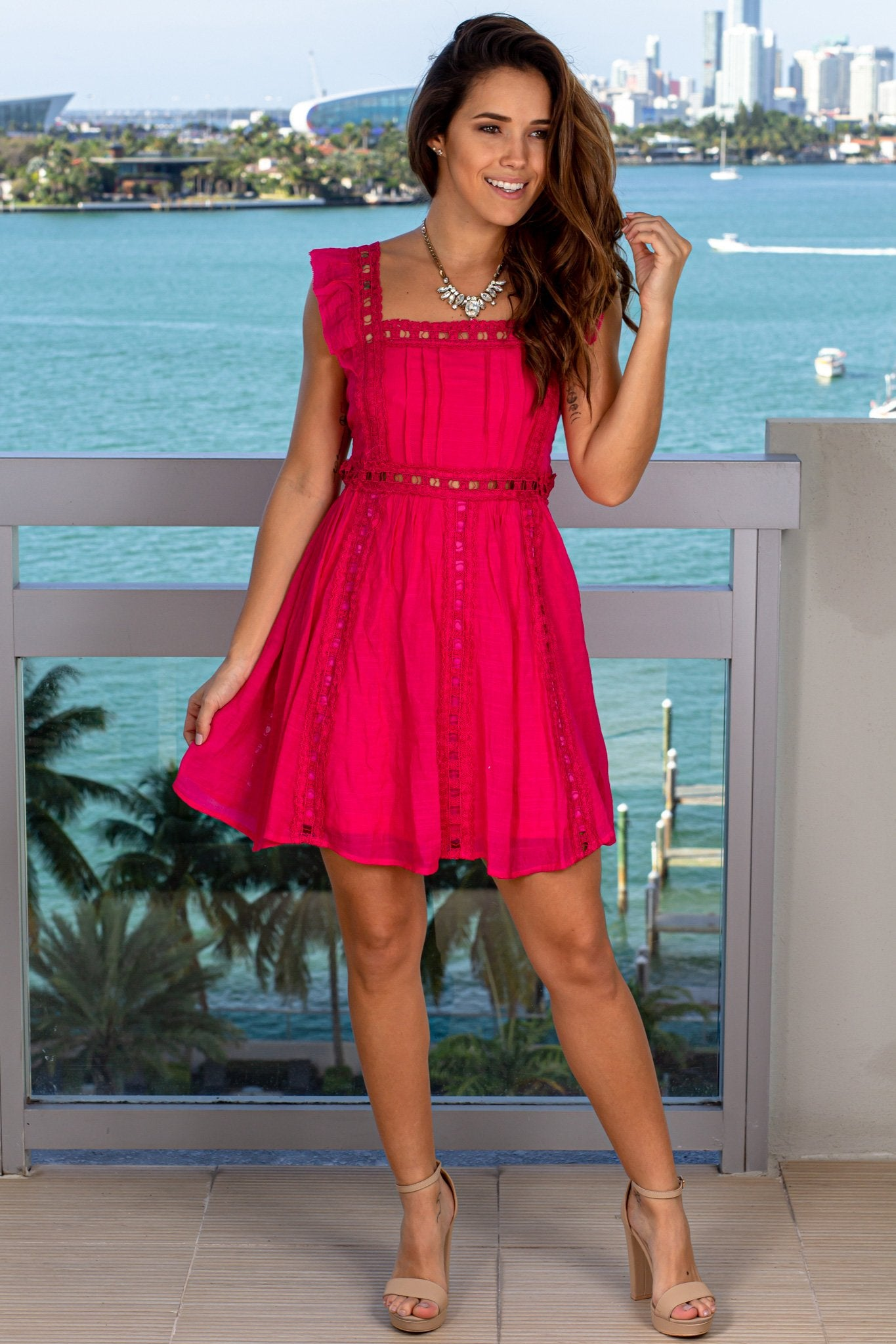 Hot Pink Short Dress with Lace Detail