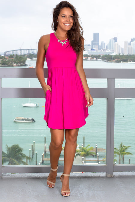 Hot Pink Short Dress with Pockets