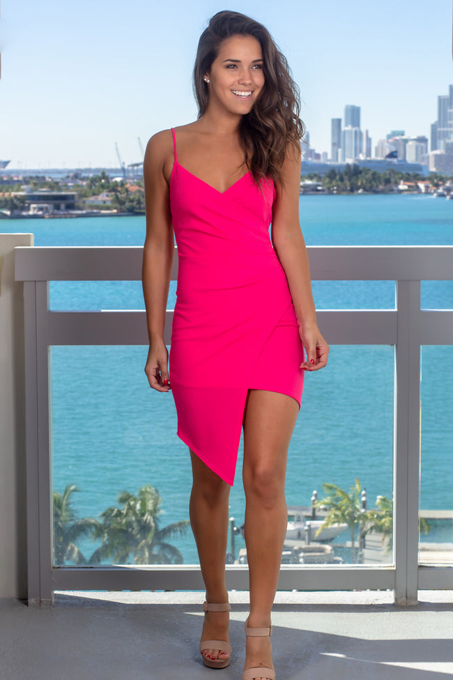 Hot Pink Short Dress with Ruched Side