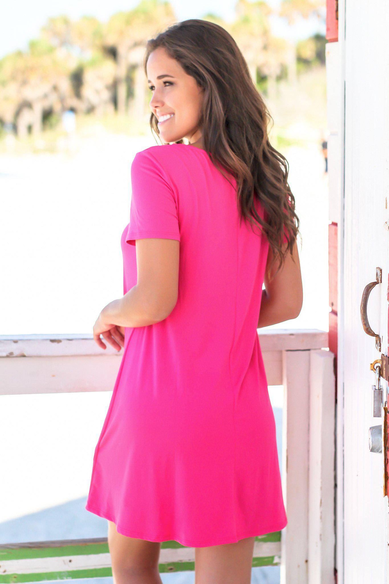 Hot Pink Short Sleeve Strappy Short Dress