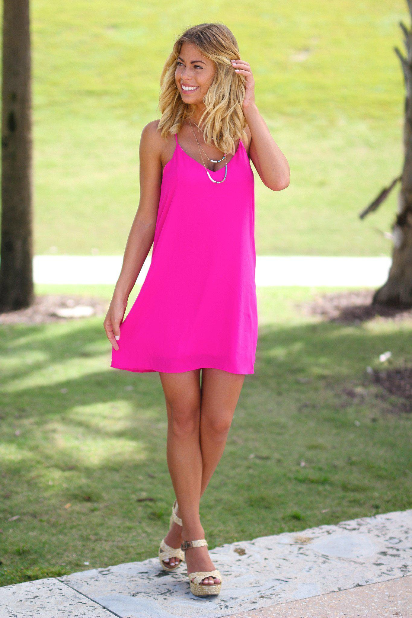 Hot Pink Tank Short Dress
