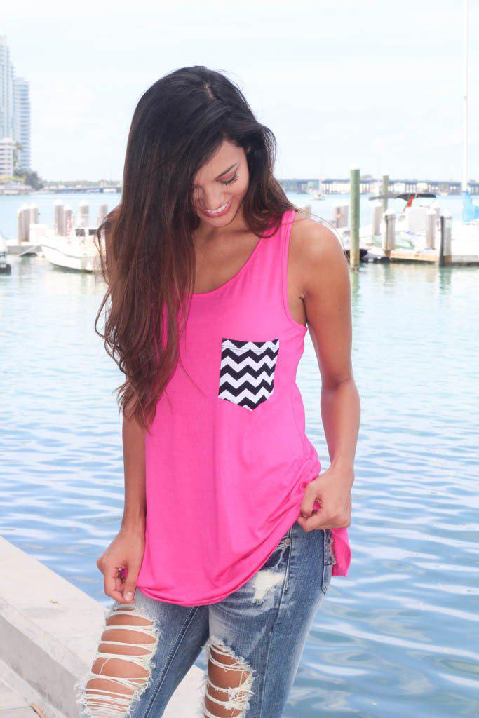 hot pink tunic top with chevron pocket