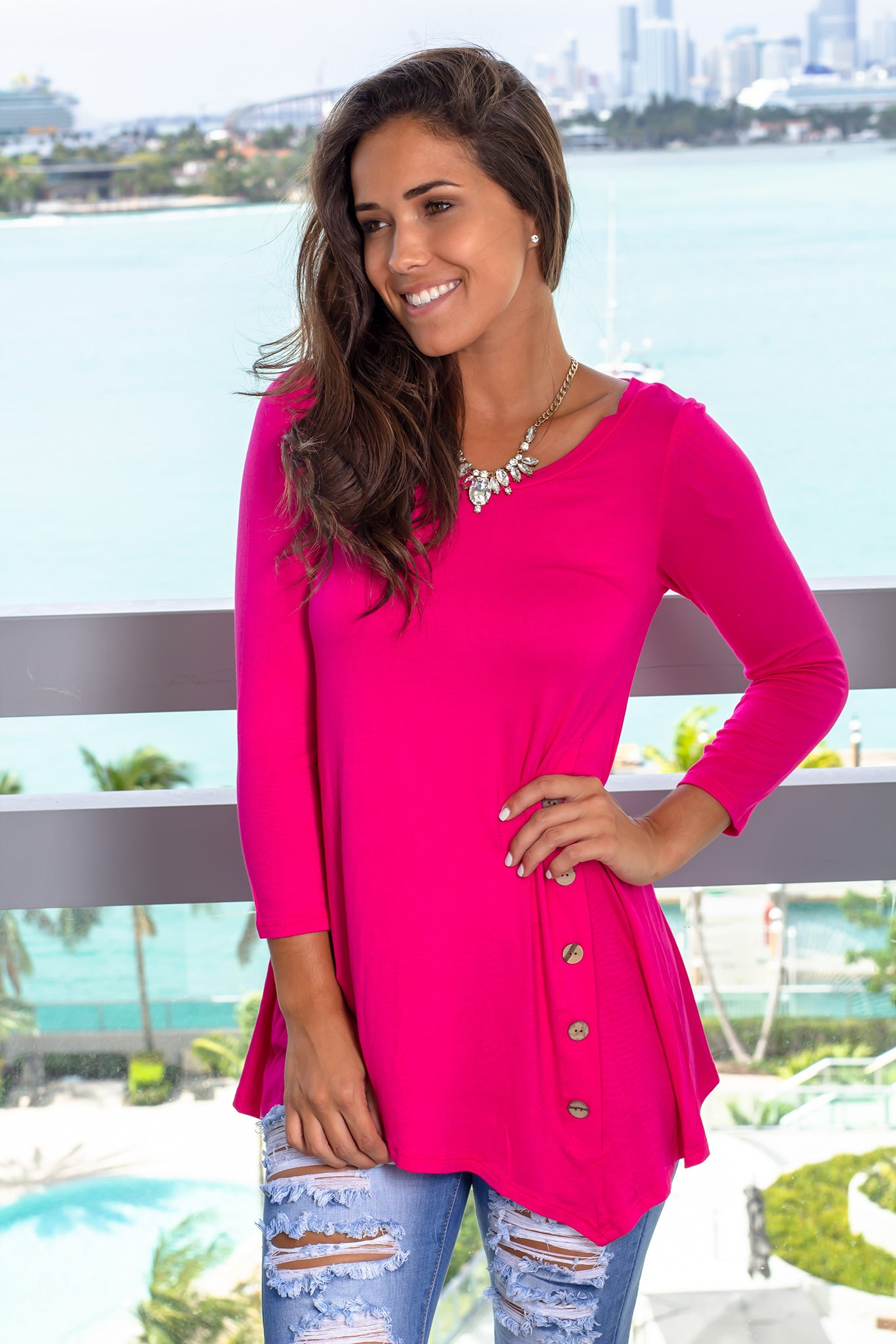 Hot Pink Top with Buttons and 3/4 Sleeves