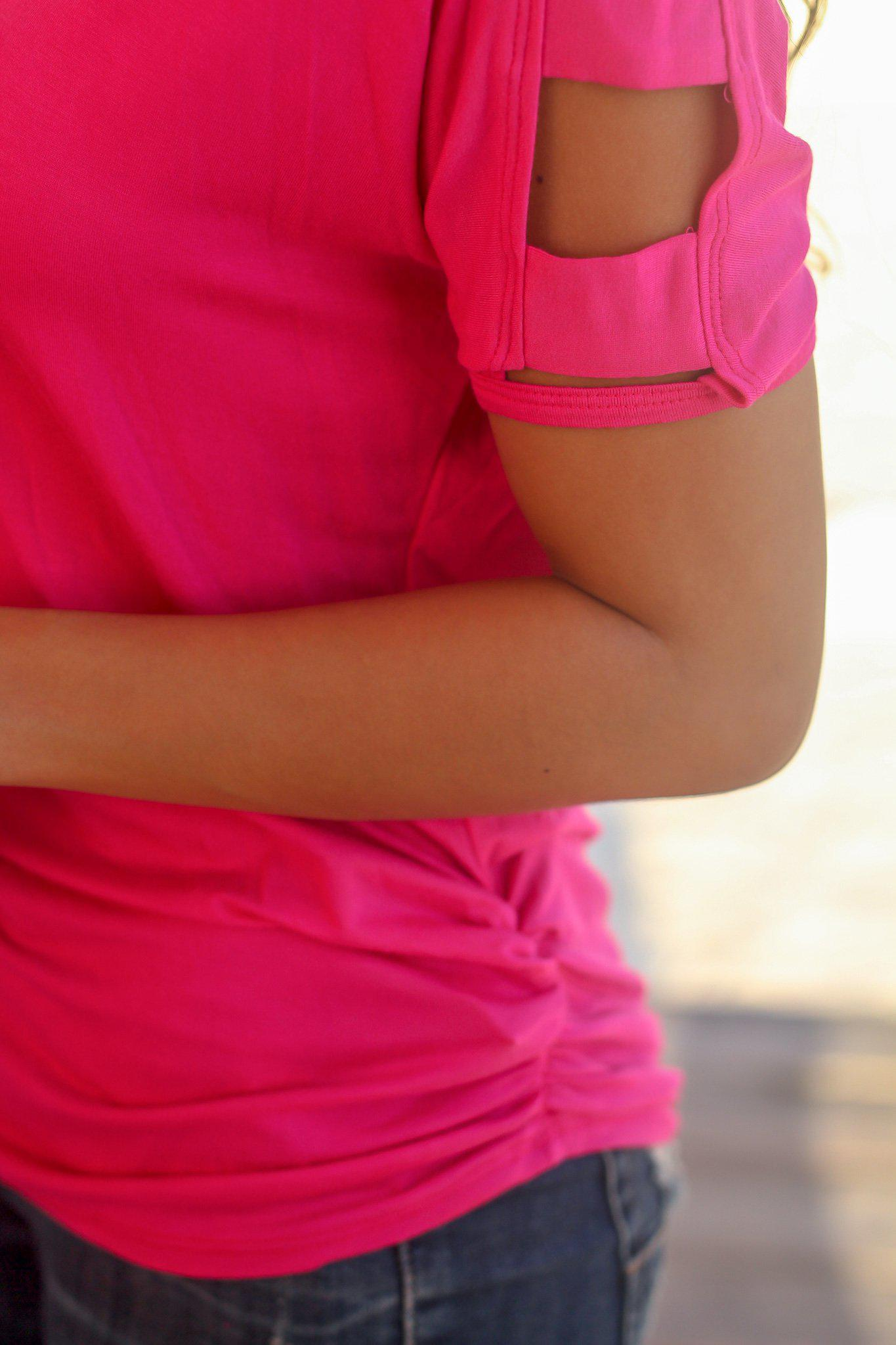 Hot Pink Top with Strap Detail Sleeves