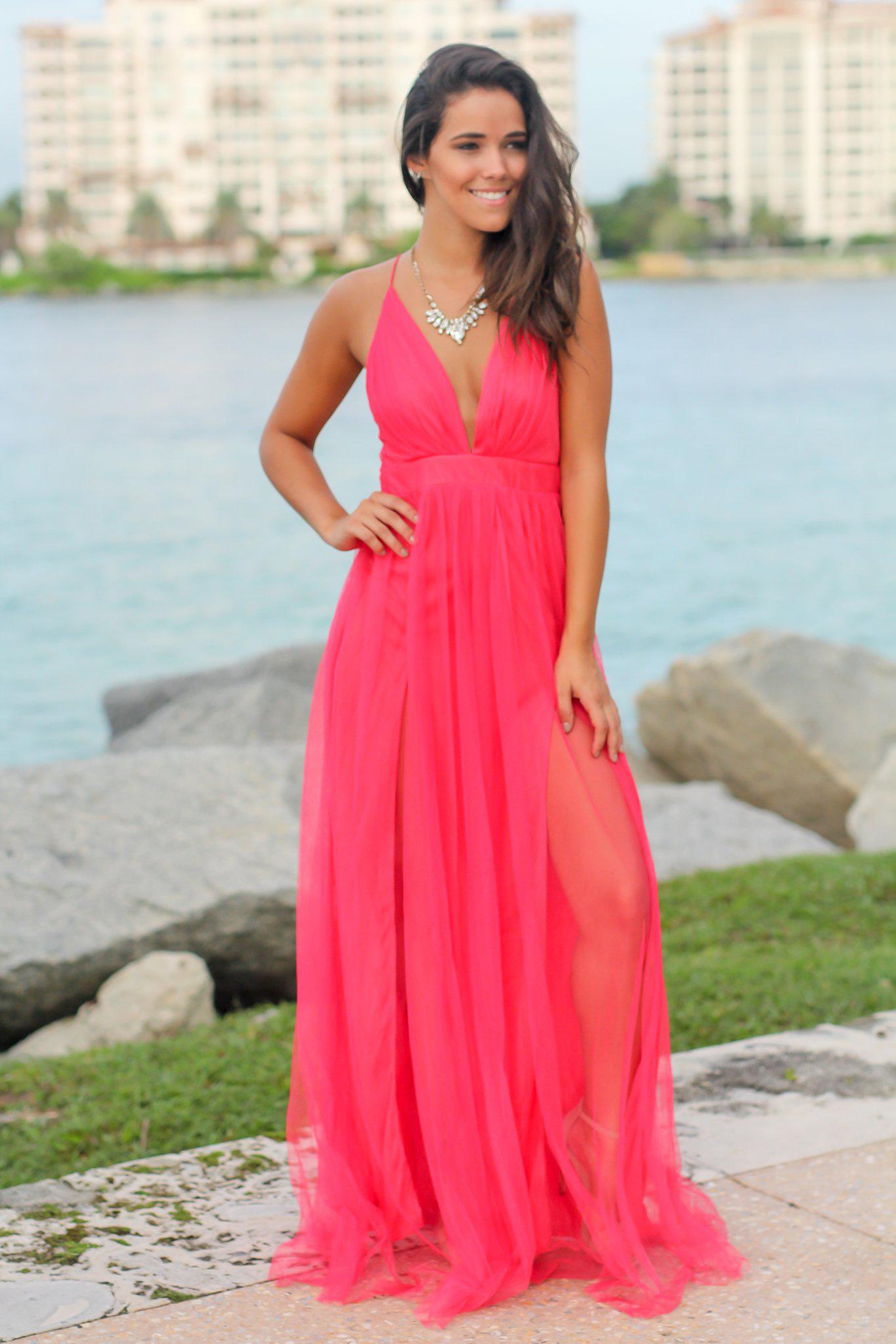 Hot Pink V-Neck Tulle Maxi Dress with Criss Cross Back