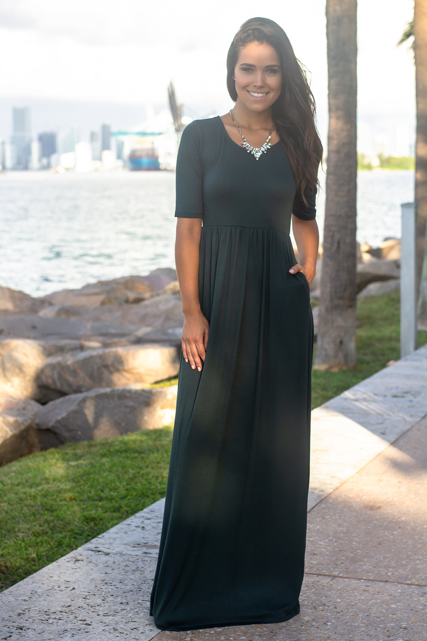 Hunter Green 1/2 Sleeve Maxi Dress with Pockets