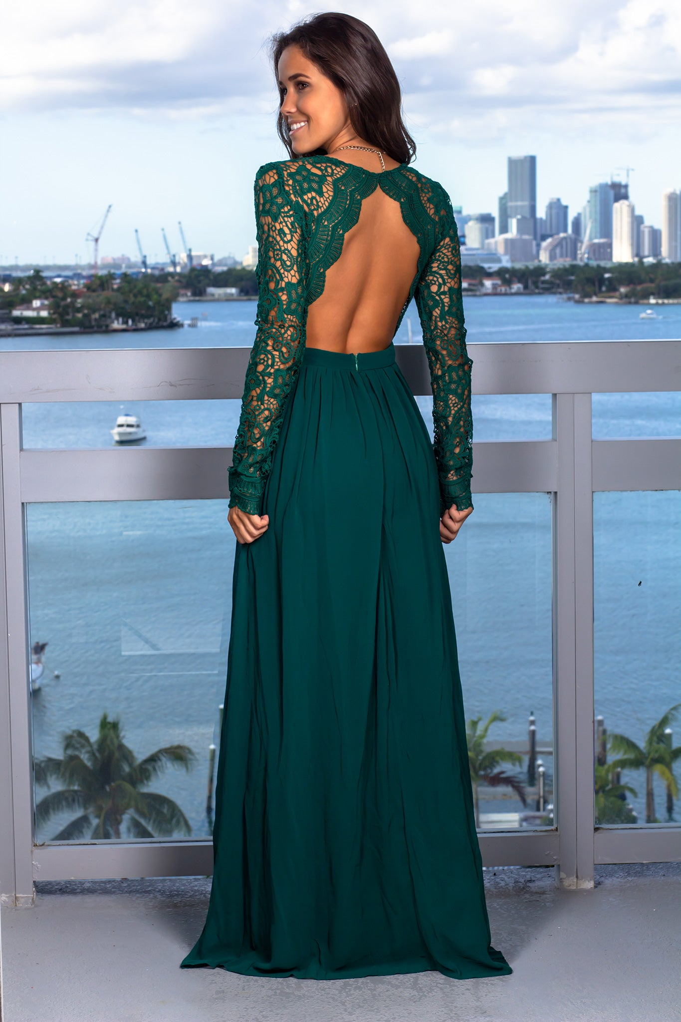 Hunter Green Crochet Maxi Dress with Open Back