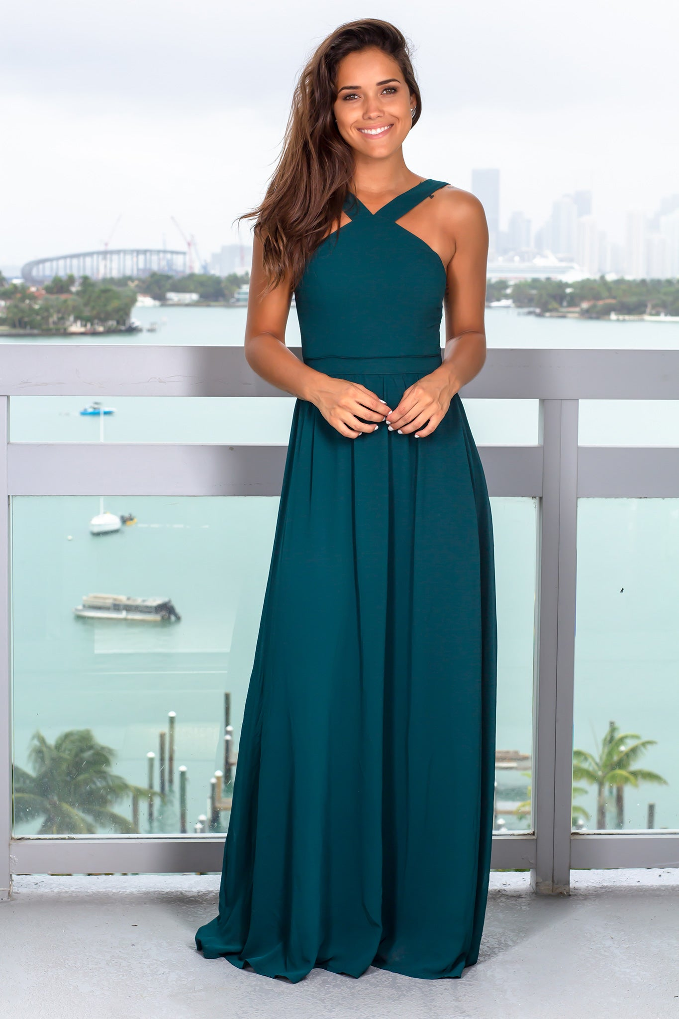 Hunter Green Halter Neck Maxi Dress with Open Back