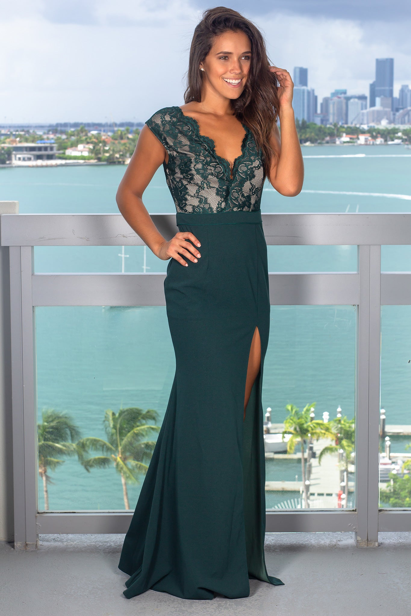Hunter Green Lace Top Maxi Dress with Side Slit