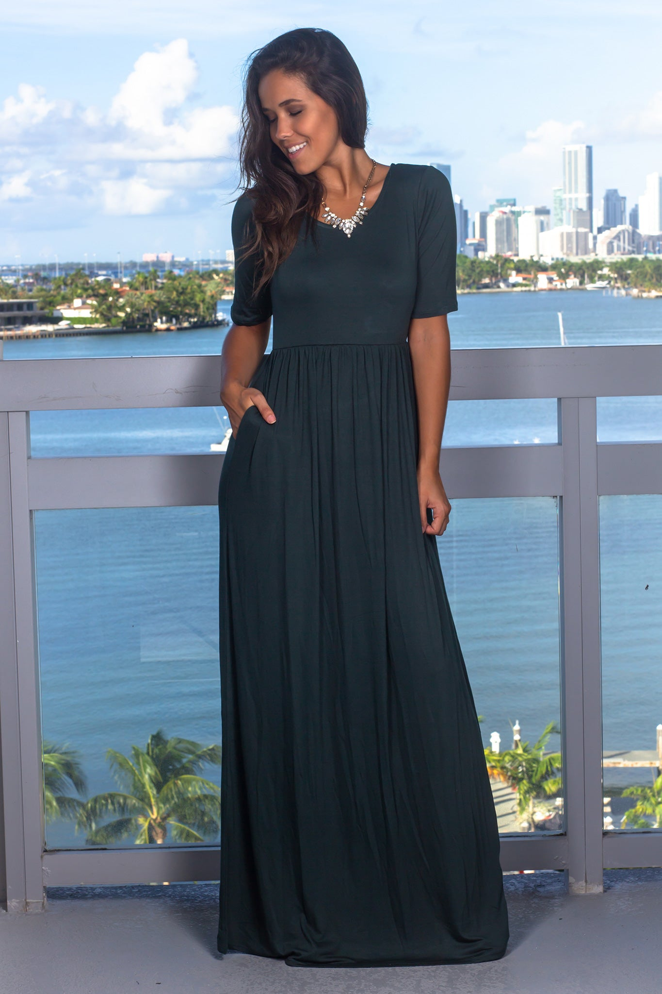 Hunter Green Maxi Dress with 1/2 Sleeves