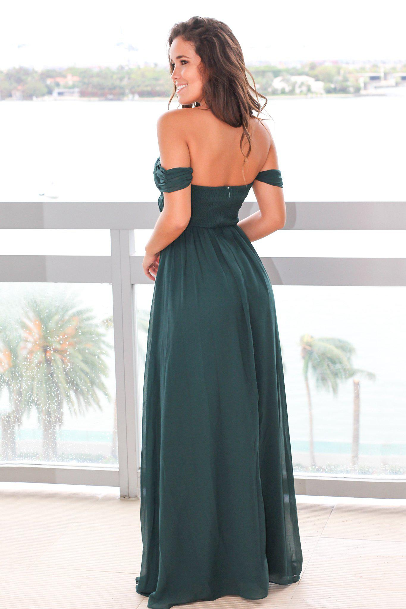 Hunter Green Off Shoulder Maxi Dress with Pleated Top
