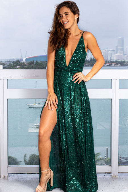 Hunter Green Sequin Maxi Dress