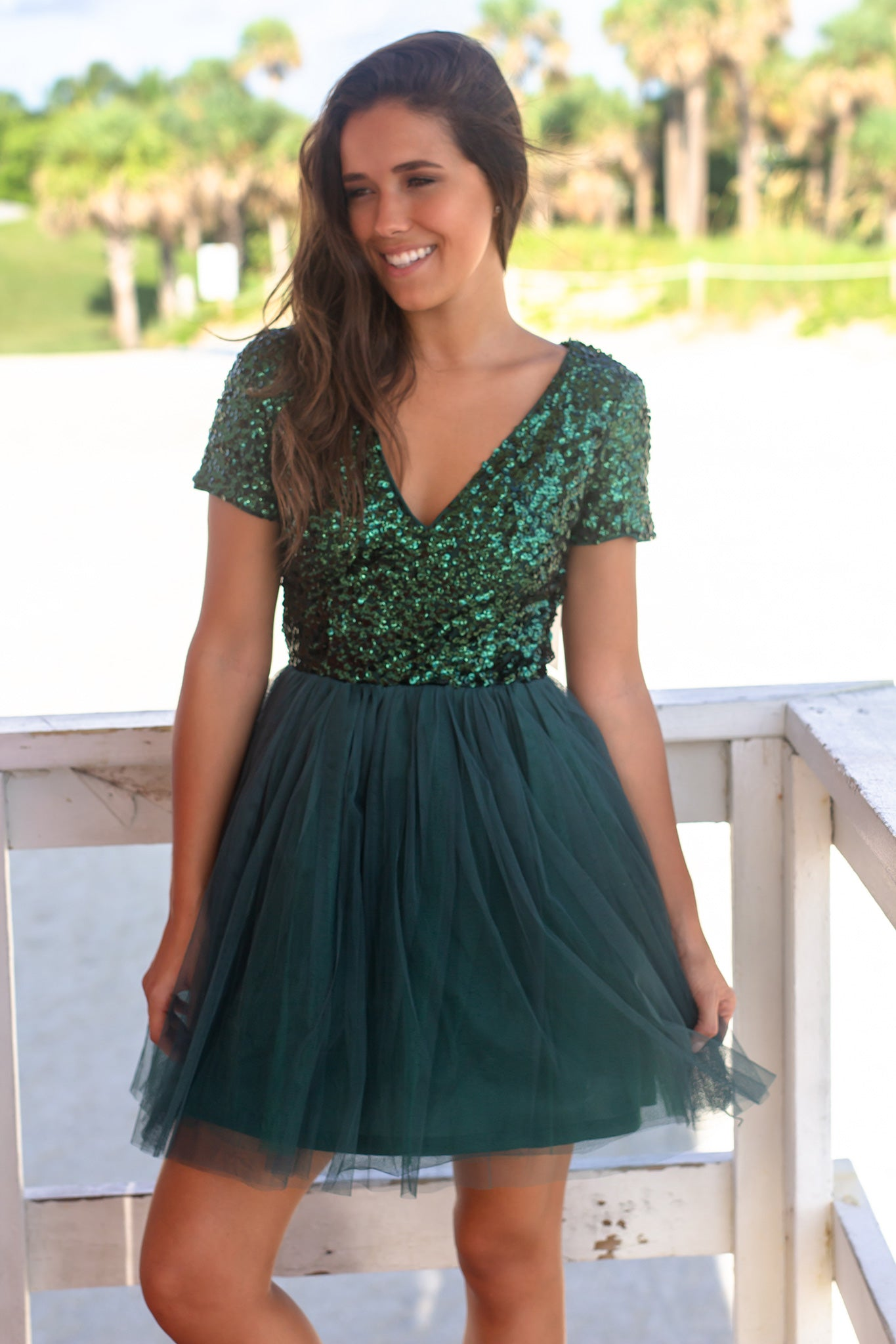 Hunter Green Sequin Top Short Dress