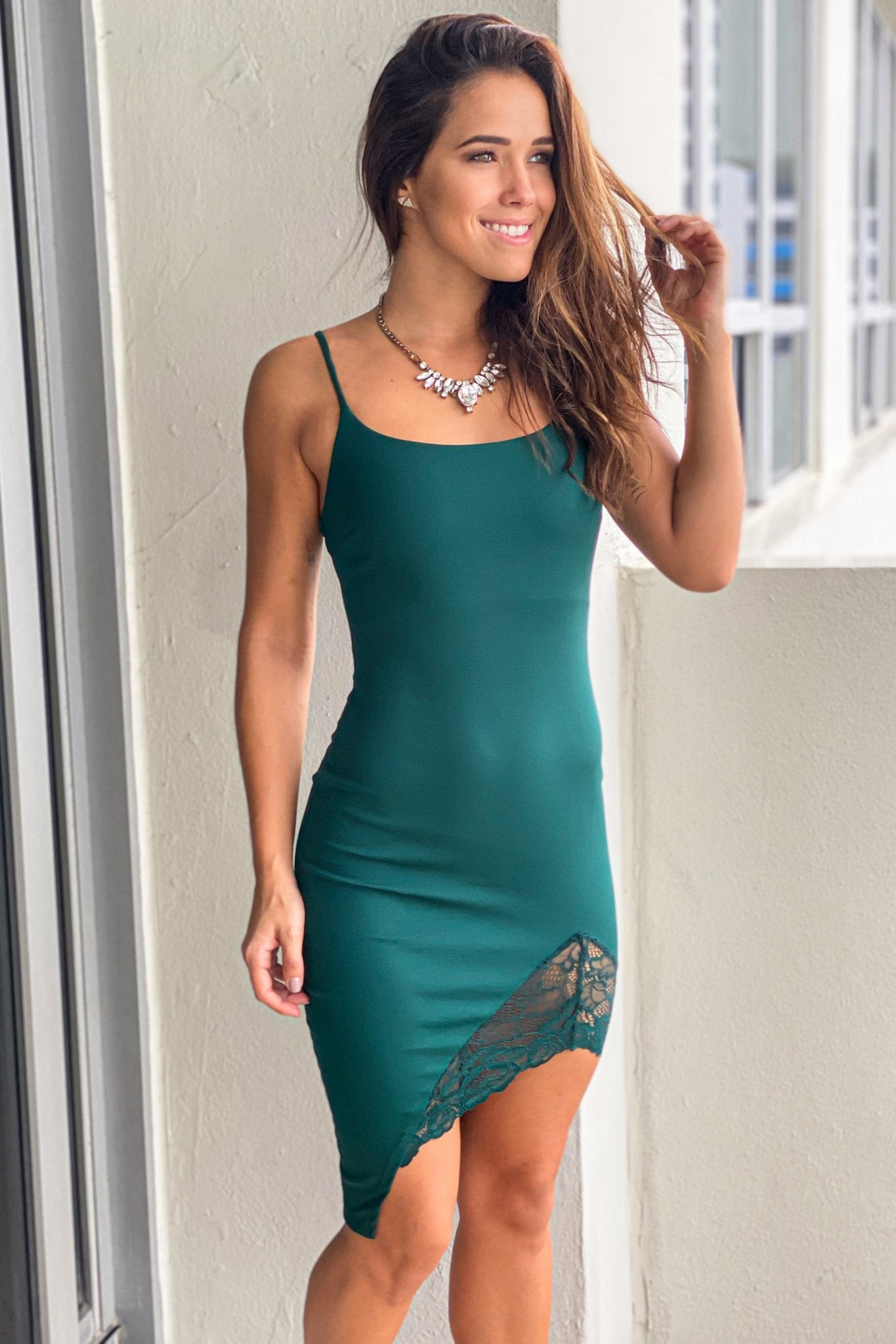 Hunter Green Short Dress with Lace Detail