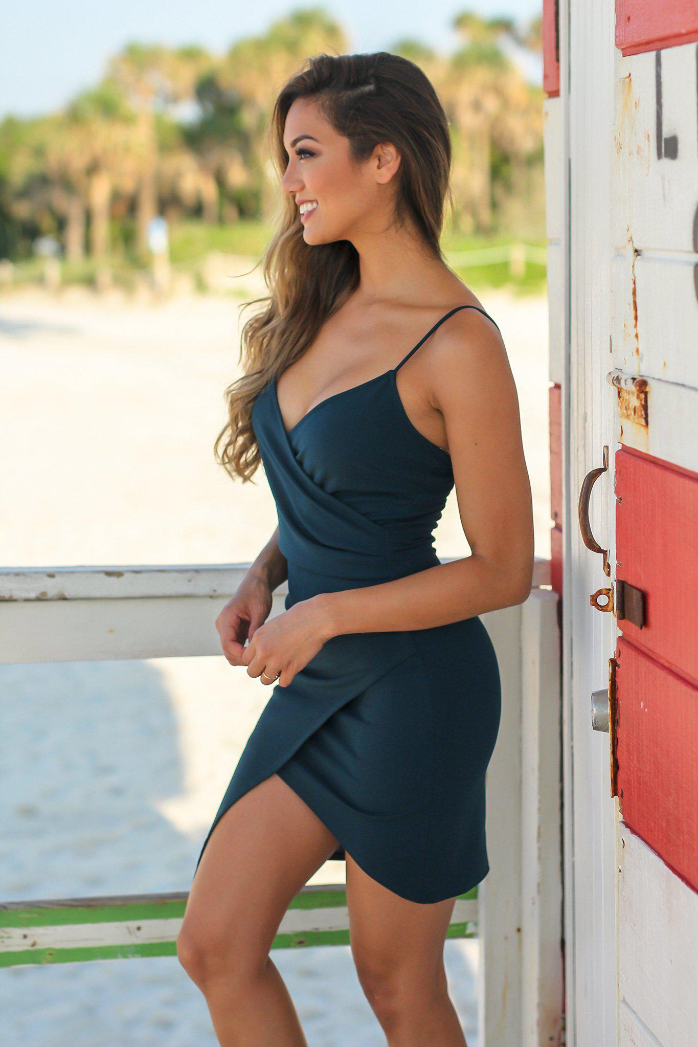 Hunter Green Short Dress with Ruched Side