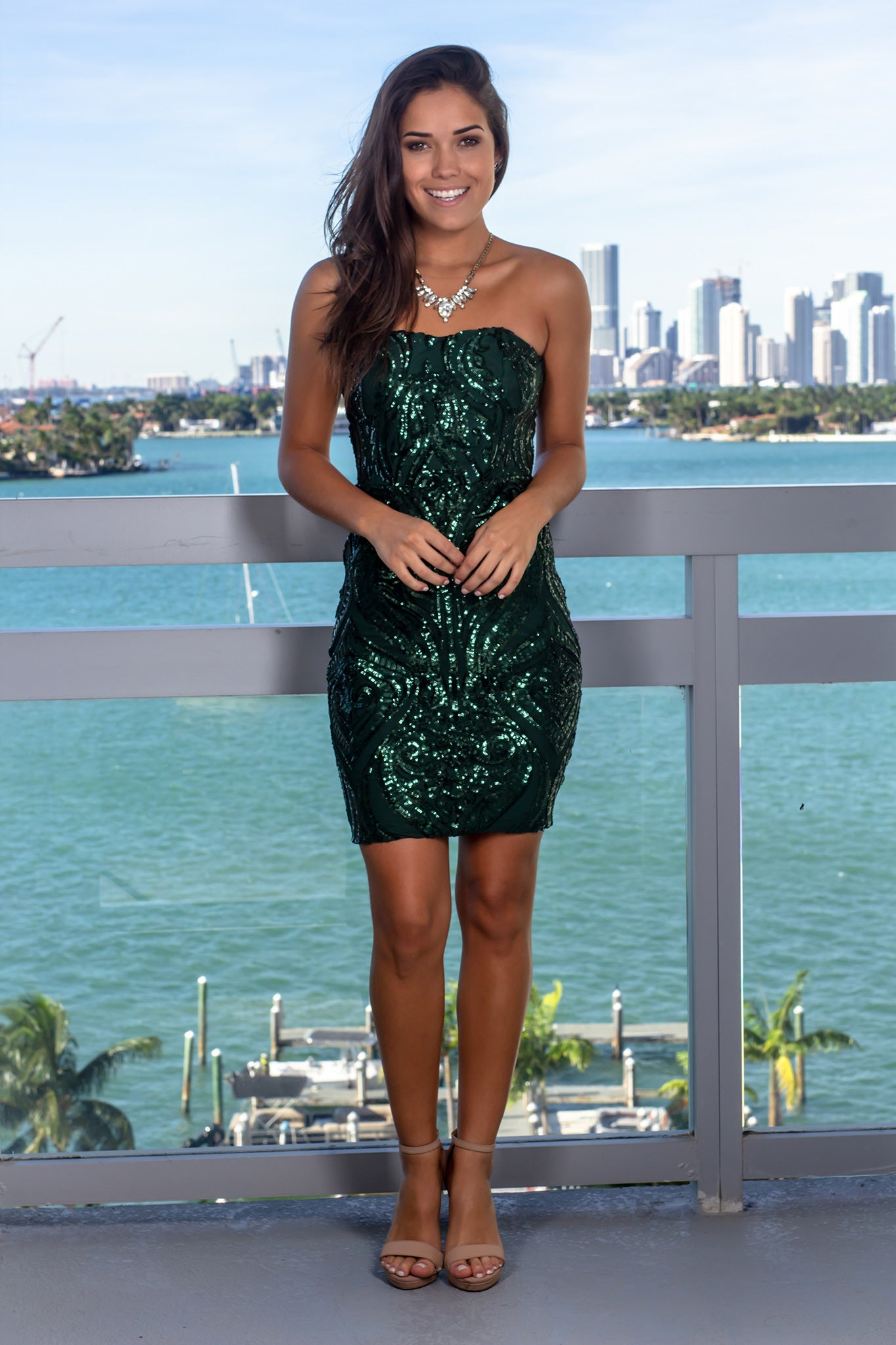 Hunter Green Strapless Sequin Short Dress