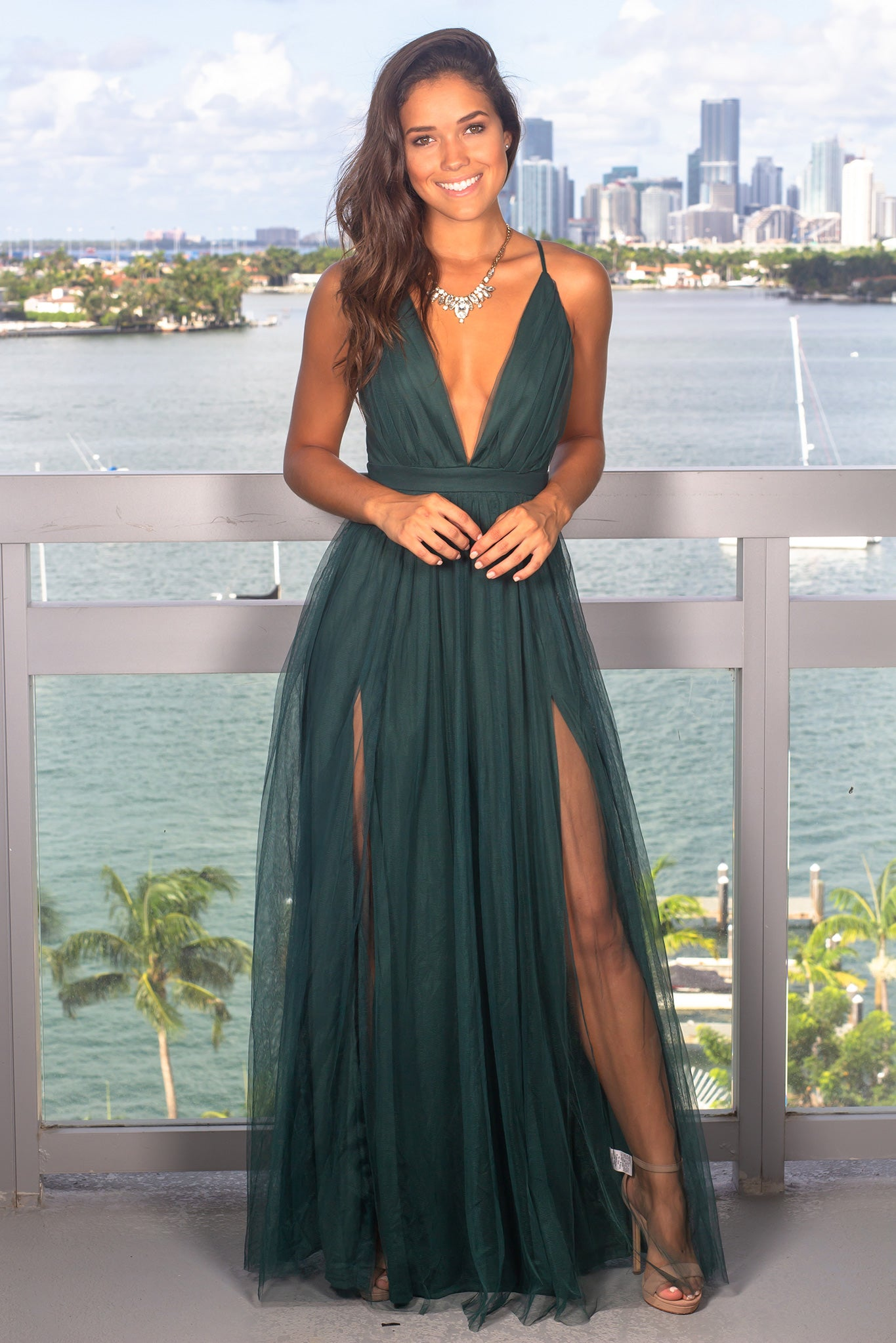 Hunter Green Tulle Maxi Dress with Criss Cross Back